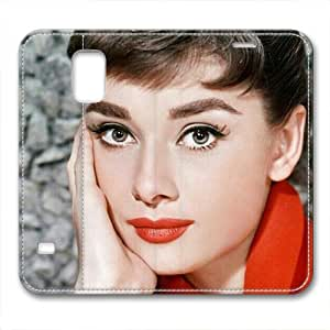 iCustomonline Leather Case for Samsung galaxy S5, Audrey Hepburn Stylish Durable Leather Case for Samsung galaxy S5