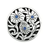 Sterling Silver Floral Mandala Brooch Pin Pendant w/ Blue Crystals, 1 5/8 inch