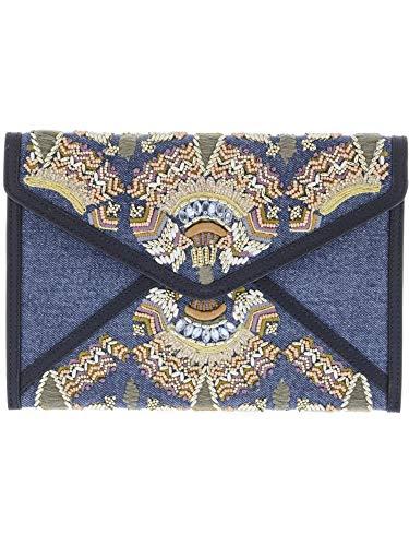 Rebecca Minkoff Women's Leo Clutch Denim Multi One Size Beaded Fold Over Clutch