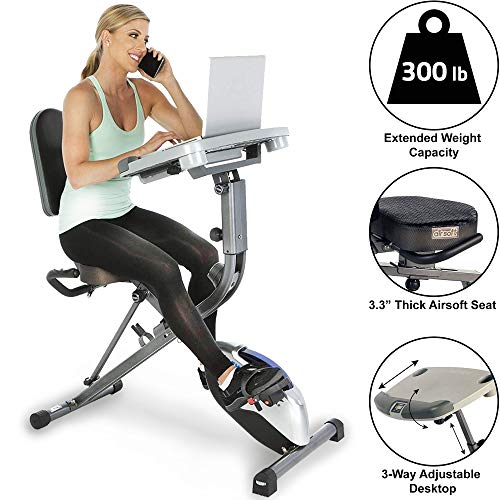 Exerpeutic ExerWorK 1000 Fully Adjustable Desk Folding Exercise Bike with Pulse (Best Folding Exercise Bike For Short Person)