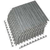 baby play mat wood - Sorbus Interlocking Floor Mat – Multipurpose Foam Tile Flooring with Borders – Home, Office, Playroom, Basement, 48 Sq ft (Wood Grain - Gray, 12 Tiles)