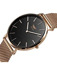 Mens Quartz Watch,KESONA Business Ultra Thin Waterproof Watch Stainless Steel Strap and Sapphire Glass