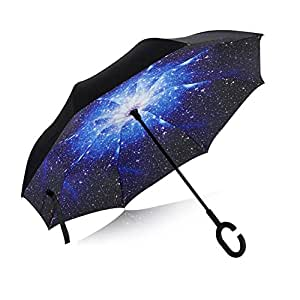 Double Layer Inverted Umbrella UV Protection Windproof Reverse Umbrella Large with C-Shaped Handle for Car Travel (Vehicle Safety, Starry Sky)