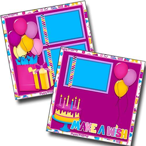 (Make a Wish Purple - Birthday - Premade Scrapbook Pages - EZ Layout)