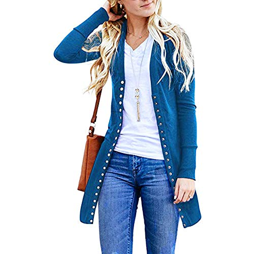 FarJing Women's Coat Long Snap Button Down Solid Knit for sale  Delivered anywhere in Canada