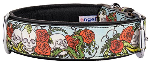 Angel Pet Supplies 70002 Skull and Rose Leather Collar, 22'' x 1.5'', Midnight Black by Angel Pet Supplies Inc.