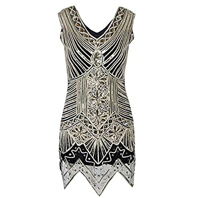 1920s Flapper Dress Women's Crystal Sequin Embellished Gatsby Dress for Cocktail