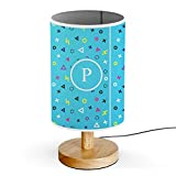 [ INITIAL LETTER P ] Monogram Name USB POWERED Wood Base Desk Table Bedside Lamp [ Gaming Polygon ]
