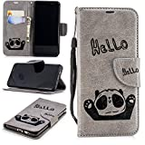 Misteem Cartoon Case for Samsung Galaxy A5 2018/ A8 2018, Cute Retro Panda Pattern Leather Cases Flip Shockproof with Card Holder Bookstyle / Stand / Magnetic Wallet Cover Protector for Samsung Galaxy A5 2018/ A8 2018 - Panda Grey