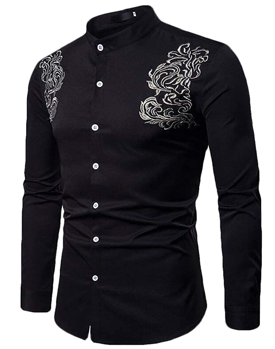 KLJR Men Plain Loose Fit Long Sleeve Casual Stand Collar Formal Embroidery Buttons Shirts
