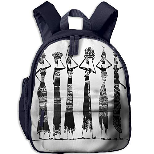 Haixia Kids' Boy's&Girl's School Backpack with Pocket African Woman Sketch of Local Women with Jugs Silhouettes Tribal Patterned Dresses Decorative Black and White