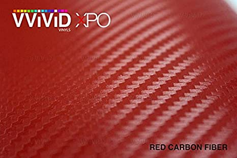 Bulk Roll VViViD Dry Red Carbon Fibre Vinyl Wrap Twill Weave Adhesive Film Roll Air Release Decal Sheet 60 x 60