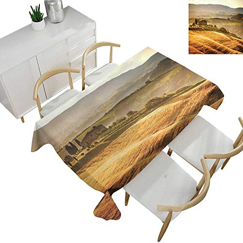 (Warm Family Tuscan Square Polyester Tablecloth Siena Tuscany Retro Farm House Trees Old Path Country Landscape on Sunset 60