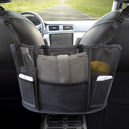 Car Net Pocket Handbag Holder, Seat Back Net Bag, Handbag Holder for Car, Driver Storage Netting Pouch, Handbag Holder Attaches to Headrest (Upgrade Black)