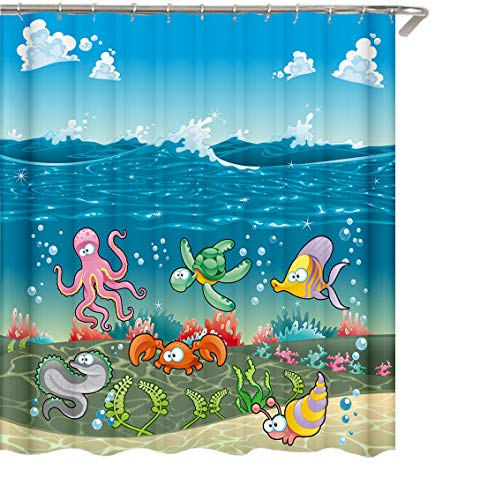 Marina Shower Curtain - YiMads Ocean Shower Curtain Kids Cartoon Marine Life Bathroom Curtains Waterproof Quick Drying for Girl/Boy