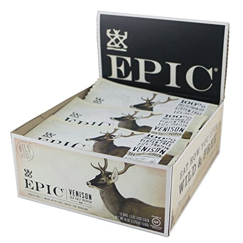 [Epic All Natural Meat Bar, 100% Grass Fed, Venison, Sea Salt & Pepper, 1.5 ounce bar, 12 count] (Pepper Jerky)