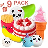 soft fruit toys - Duperym 9 Pack Squishies Slow Rising Jumbo Unicorn Whale Banana Mango Strawberry Birthday Cake Fries Ice Cream Panda Bun Soft Scented Stress Relief Squishy Fidget Toys Party Favors for Easter Gifts