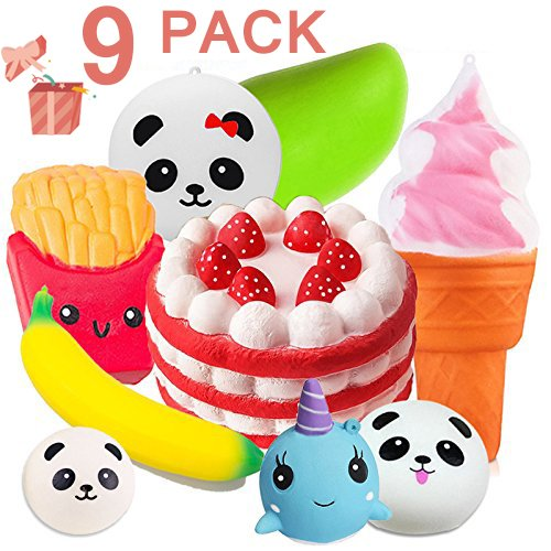 Duperym 9 Pack Squishies Slow Rising Jumbo Unicorn Whale Banana Mango Strawberry Birthday Cake Fries Ice Cream Panda Bun Soft Scented Stress Relief Squishy Fidget Toys Party Favors for Easter Gifts