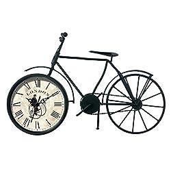 Ashton Sutton CX1720 Quartz Analog Vintage Bicycle Table Clock, Black Metal