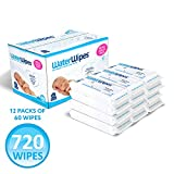 WaterWipes Baby Wipes, Chemical-Free, Sensitive, 12 packs of 60 Count (720 Wipes)