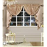 "Octorose ® Royalty Custom Waterfall Window Valance and Swags & Tails (Pair of Swags & Tails 132"" x 47"", Gold)"