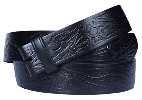 Western Embossed Belt for Buckles 100% Top Grain One Piece Leather, Made in USA (34-36 Medium, black)#2020