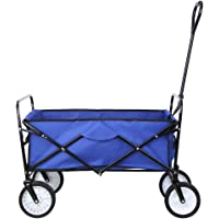 Collapsible Outdoor Utility Wagon, Heavy Duty Folding Garden Portable Hand Cart, with 8″ Rubber Wheels and Drink Holder, Suit for Shopping and Park Picnic, Beach Trip and Camping (Blue)