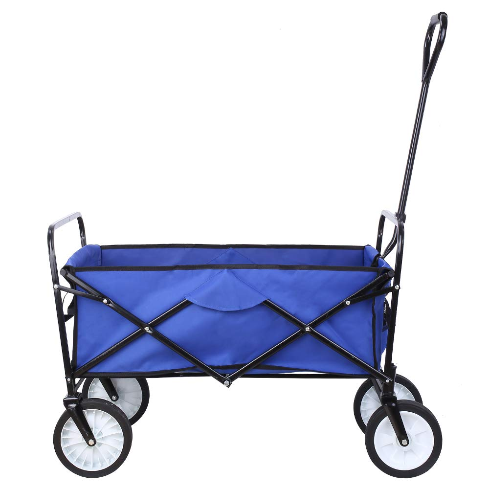 Collapsible Outdoor Utility Wagon, Heavy Duty Folding Garden Portable Hand Cart, with 8 Rubber Wheels and Drink Holder, Suit for Shopping and Park Picnic, Beach Trip and Camping Blue