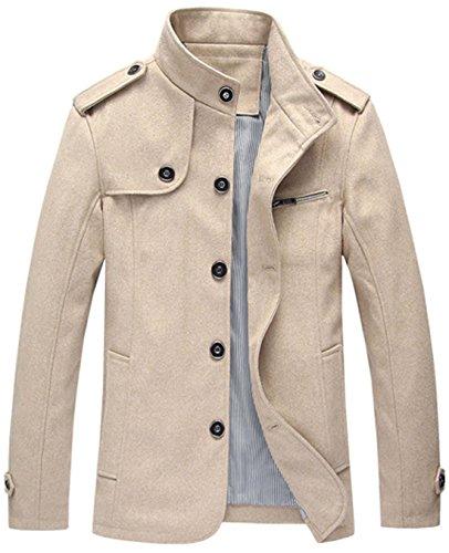 Classic Pinstripe Coat (Chouyatou Men's Military Stylish Single Breasted Natural Fit Stripe Lined Wool Pea Coats (X-Large, Khaki))
