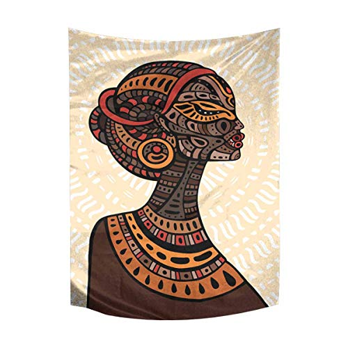 InterestPrint Beautiful African Woman Ethnic Tribal Portrait Cotton Linen Tapestry Wall Art Home Decor, Tapestries Wall Hanging Art Sets, 40W X 60L Inch ()