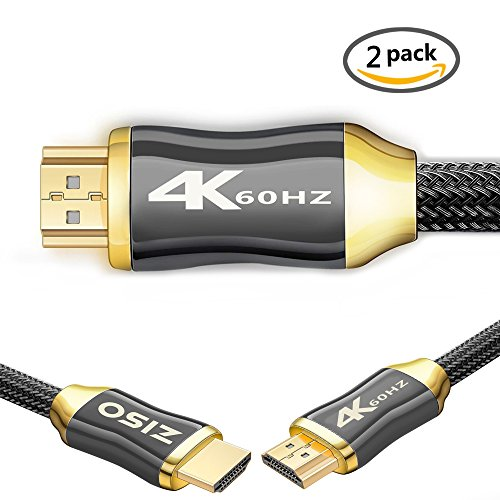 - 4K HDMI Cable 3 ft - - HDMI 2.0 (4K @ 60Hz) Ready -High Speed 18Gbps - 4K HDR, 3D, 2160P, 1080P, Ethernet - 28AWG Braided HDMI Cord - Audio Return(ARC) Compatible UHD TV, Blu-Ray and More(3FT 2 Pack