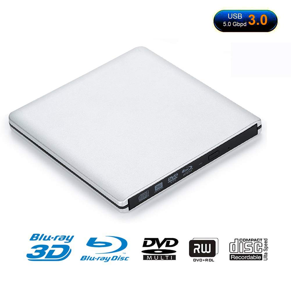 USB 3.0 Blu-ray Player/DVD Drive/DVD Burner with 3D 4K Blu-ray Disc Player,Portable USB 3.0 Blu Ray DVD Burner Player Writer Reader Disk for Laptop, Windows 7/8/10,Linxus,Mac OS (Silver)