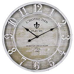 Yosemite Home Decor L'hotel Des Fleurs White Wall Clock French Country Round Glass Antique Numerical Display