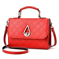Diamond Lattice Women Messenger Bags Pu Leather Handbag Shoulder Bag Plaid Women Crossbody Bag A Red Small Size