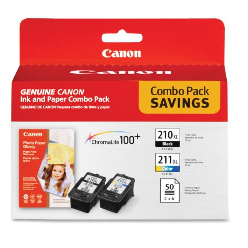 Canon PG-210 XL and CL-211 XL Ink and Glossy Photo Paper Combo Pack, Compatible to MP495,MP280,MP490,MP480,MP270,MP240, MX420,MX410,MX350,MX340 and MX330 (Canon Ink Mp495)