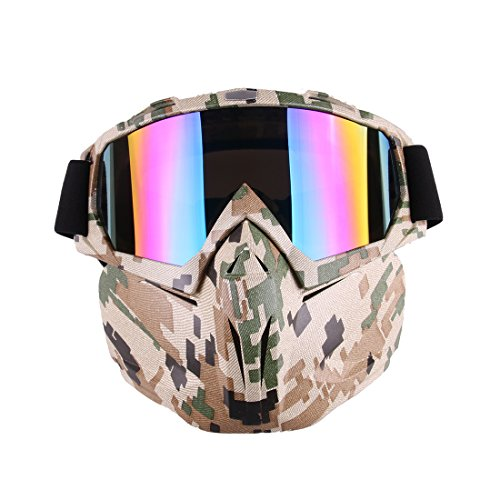 Face Mask, Lingxuinfo Tactical Mask Protective Mirror Face Mask with Protective Goggles for nerf war (Camouflage Color)