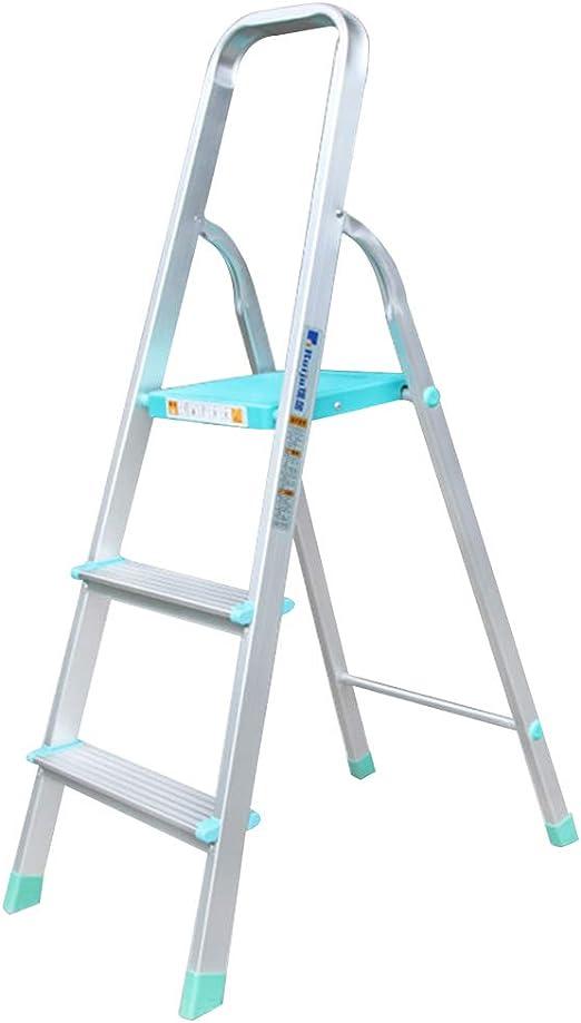 GAO YU SHOP Escalera escalonada Escalera Plegable Escalera de la casa Engrosada Escalera Plegable Escalera de Tres peldaños Escalera en Espiga Escalera de Aluminio Peso de Carga 150 kg (Color : Blue):