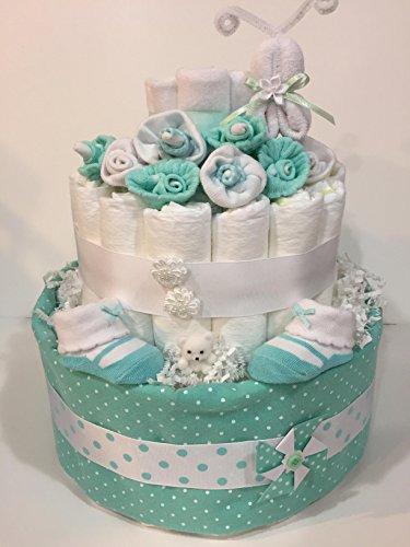 Girl Mint Green 2 Tier Ultimate Castle Diaper Cake