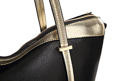Borse Borse cerniere Nero Spalla quotidiana Donna Vita VogueZone009 OYFPXx
