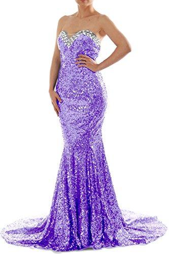 MACloth Women Mermaid Strapless Sweetheart Sequin Long Prom Dress Evening Gown Lavanda