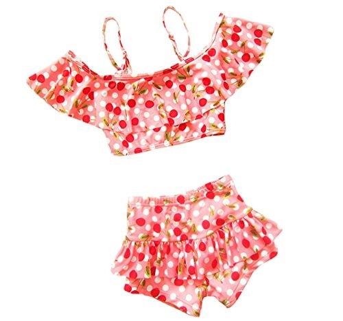 Taiycyxgan Girls Cherry Two-Pieces Bikini Set Beach Slip Tops Swimwear,Medium / 4-5 Years,Pink