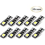 AGPTEK 10Pcs Super Bright Low Power 2835 Chipset LED Bulbs for Car Interior Dome Map Door Courtesy License Plate Lights Compact Wedge T10 168 194 2825 Xenon, White Pack of 10