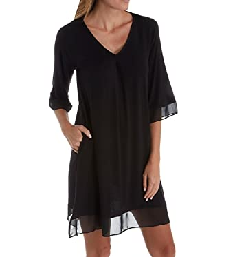 f49c425ff8ba3 Donna Karan Sleepwear Balanced Elegance Sleepshirt (D236935) S/Black at  Amazon Women's Clothing store: