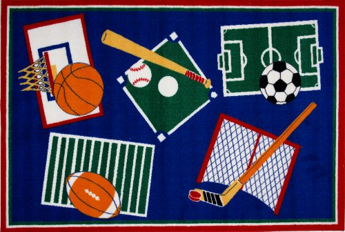 Roule Fun Time Collection Sports A Rama 39X58 Inch Kids Area Rugs