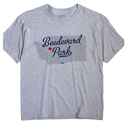 GreatCitees Boulevard Park Washington WA MAP Unisex Souvenir T Shirt