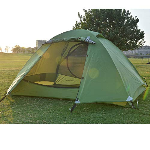 Winter Camping Tent 1-2 Person Lightweight Double Layer Backpacking Tent, Waterproof Two Doors Double Layer Easy Setup Tent with Aluminum Rods for Outdoor Hunting, Hiking, Climbing, Travel (Green) (Best Tents For Winter Camping)
