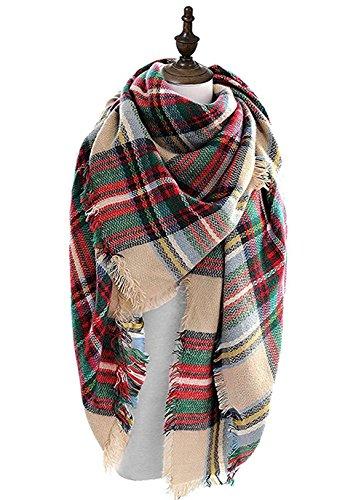 MOLERANI Womens Fashion Tassels Soft Plaid & Tartan Scarf Winter Warm Large Blanket Wrap Shawl