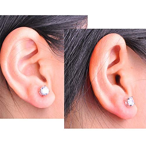 Beutique Junxin Mystic 925 Sterling Silver Round Cut Rainbow White Topaz Stud Earrings Wedding Ear Studs 8MM White,one Size