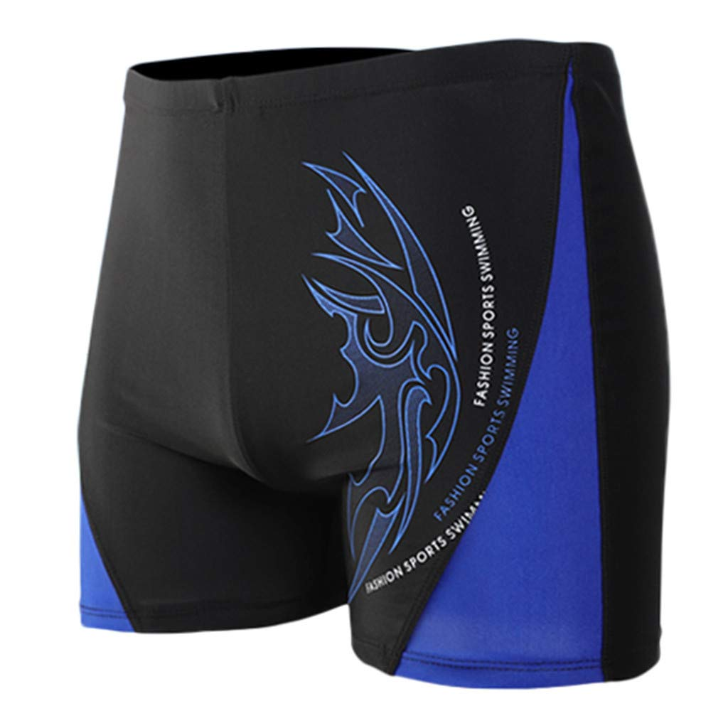 XQXCL Boxer Brief Swimming Trunks for Men Printing Sports Tight Flat Angle Shorts Blue