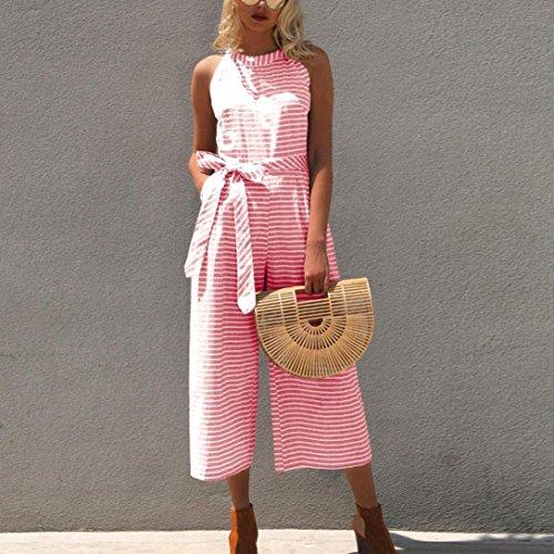 Pantaloni Clubwear Tuta Vita Gonna Donna Tuta a Casual Gamba Senza Alta Tulle Maniche SOMESUN Pink Larga Campana Righe Lunga Estiva zvAwWcBnqZ